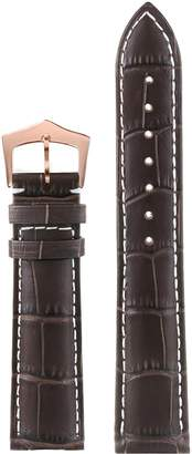 AUTULETmm Simple Dark Leather Women's Watch Band Replacement Good Quality White Contrasting Stitch Rose Gold Clasp