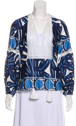 Alexis Macramé-Trimmed Printed Tunic w/ Tags