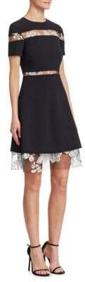 Pamella Roland Embroidered Lace A-Line Dress