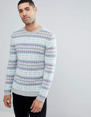 Asos DESIGN All Over Fairisle Wool Mix Sweater In Gray