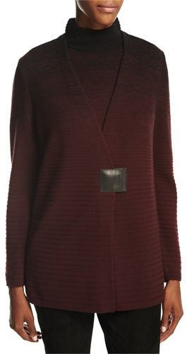 Lafayette 148 New York Relaxed V-Neck Ombre-Stitched Cardigan, Black Multi