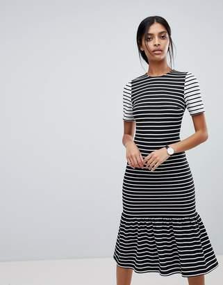 Asos DESIGN Midi Dress With Pep Hem in Mono Stripes