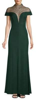 Tadashi Shoji Embellished Yoke Gown