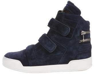 Balmain Suede High-Top Sneakers