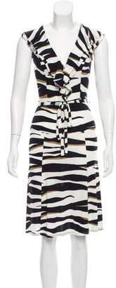 Valentino Ruffle-Accented Printed Dress