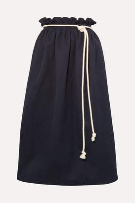 Atlantique Ascoli Rope-trimmed Cotton And Linen-blend Poplin Midi Skirt