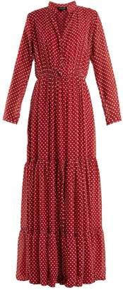 Saloni Alexia dobby-dot chiffon dress