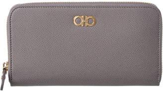 Salvatore Ferragamo Double Gancini Leather Zip-Around Wallet