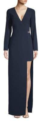 Halston Long-Sleeve Column Gown