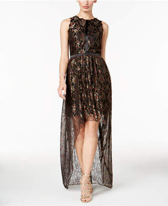 Adrianna Papell Metallic Lace High-Low Dress