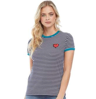 Brave Soul Womens Kissy Striped T-Shirt White And Navy/Peacock