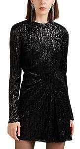 Saint Laurent Women's Leopard Lamé Minidress - Black