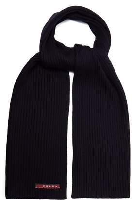Prada - Ribbed Knit Wool Scarf - Mens - Navy
