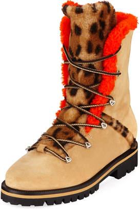 Yves Salomon Mernillo Shearling-Trim Printed Tall Boots