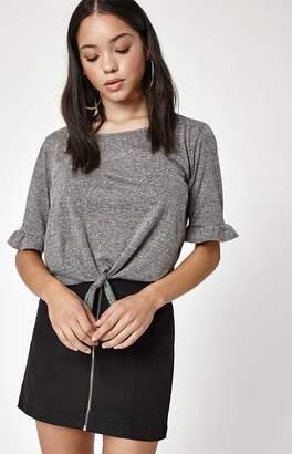 La Hearts Ruffle Tie Front T-Shirt