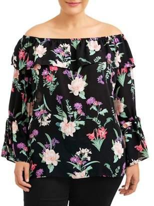 Miss Lili Women's Plus Size Off Shoulder Floral Blouse
