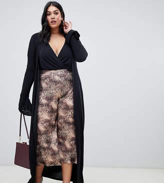 PrettyLittleThing Plus slinky duster coat in black
