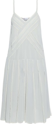 RED Valentino Lace-trimmed Pleated Chiffon Dress