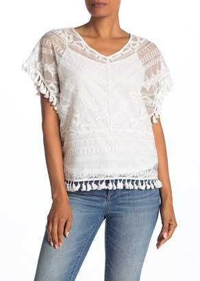 Laundry by Shelli Segal Tassel Trim Embroidered Mesh Top