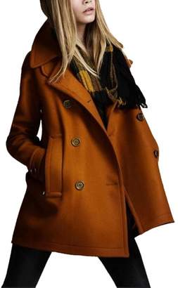 D-Sun Women's Stylish Loose Style Notched Lapel Double Breasted Trench Wool Coat (, XS)