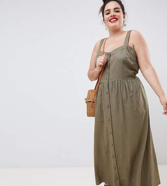 Asos DESIGN Curve linen button through maxi dress