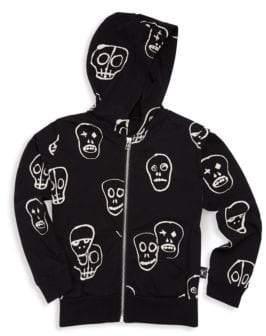 Nununu Boy's& Girl's Zip-Up Cotton Skull Hoodie