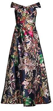 Aidan Mattox Women's Bardot Off-The-Shoulder Floral Gown - Size 0