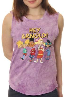 Nickelodeon Hey Arnold! Juniors' Standing Group shot Muscle Graphic Tank Top With Tie Dye Coloring