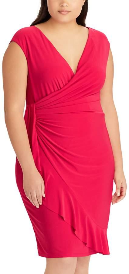 Plus Size Ruffled Faux-Wrap Dress
