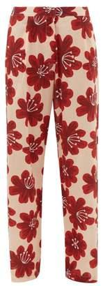 Dodo Bar Or Hattie Floral Print Cotton Wide Leg Trousers - Womens - Cream Print