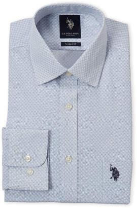 U.S. Polo Assn. Blue Geo Print Slim Fit Dress Shirt