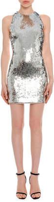 Versace High-Neck Sleeveless Sequined Mini Cocktail Dress