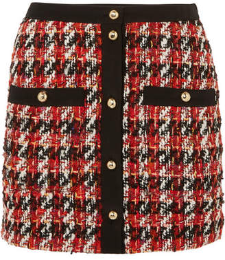 Alessandra Rich - Button-embellished Bouclé-tweed Mini Skirt - Red
