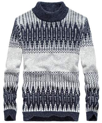 S.FLAVOR Men's Cotton Full Sleeve Jacquard Pattern Knit Turtleneck Sweater(,M)