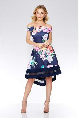 Quiz Navy Floral Print Bardot Dip Hem Dress