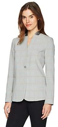 T Tahari Women's Adara One Button Melange Blazer
