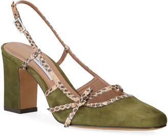 Tabitha Simmons Donnie Suede & Snakeskin Bow Pumps, Olive