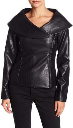 Fate Shawl Collar Faux Leather Jacket