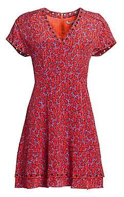 Derek Lam 10 Crosby Women's Stretch-Silk Printed V-Neck Dress - Size 0