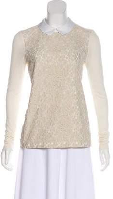 Tory Burch Lace-Paneled Knit Top
