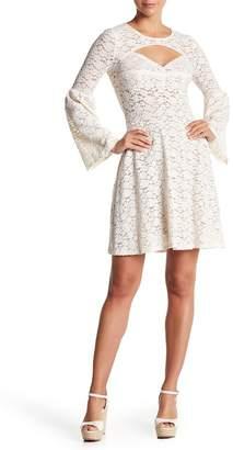 BCBGMAXAZRIA Cutout Bell Sleeve Lace Dress