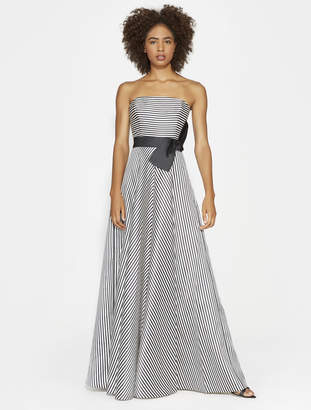 Halston STRAPLESS STRIPE GOWN WITH BOW