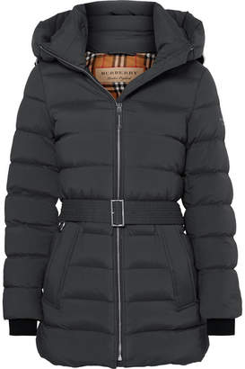 Burberry Belted Quilted Shell Down Coat - Gray