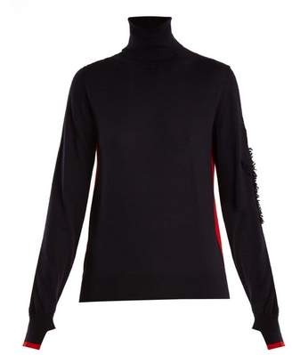 Barrie Thistle Roll Neck Contrast Panel Cashmere Sweater - Womens - Navy Multi
