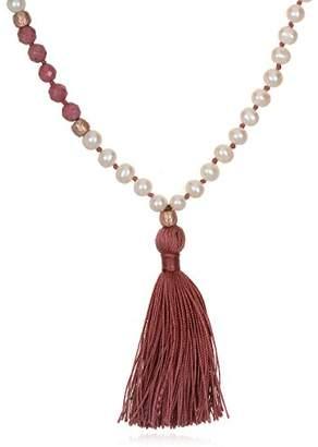 Satya Jewelry Womens Pearl Lotus Mala Necklace 30-Inch
