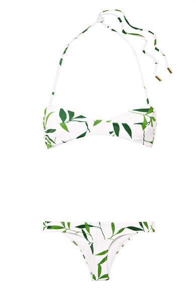 Kali Printed Halterneck Bikini - White