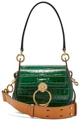 Chloé Tess Small Crocodile Effect Leather Cross Body Bag - Womens - Dark Green