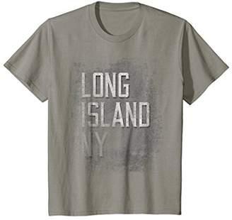 Long Island NYC New York NY Distressed Grunge Grey T-Shirt
