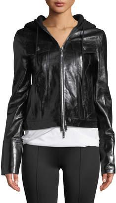 Helmut Lang Hooded Zip-Front Leather Jacket