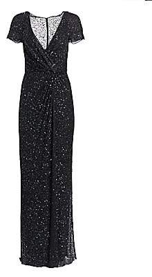 Jenny Packham Women's Sequined Cap Sleeve Gown